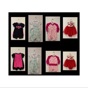 Baby size 0 bundle x4 dress romper swim overalls